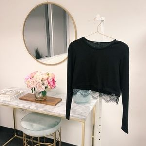Zara Long Sleeve Lace Crop Top